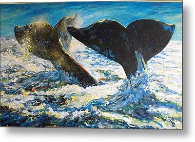 Blue Whales Metal Print by Koro Arandia