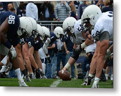 Blue White Penn State Football Metal Print by Michael Misciagno