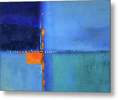 Metal Print featuring the painting Blue Window Abstract by Nancy Merkle