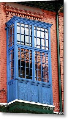 Blue Window In Bogota Metal Print by John Rizzuto