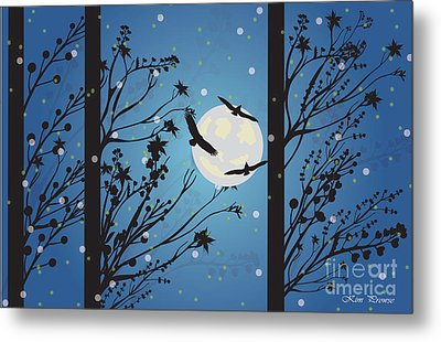 Metal Print featuring the digital art Blue Winter Moon by Kim Prowse