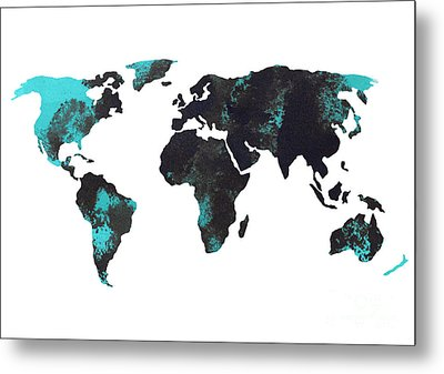 Blue World Map Watercolor Painting Metal Print by Joanna Szmerdt