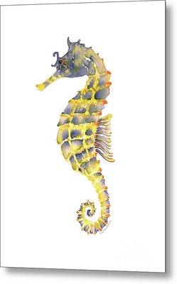 Blue Yellow Seahorse - Vertical Metal Print by Amy Kirkpatrick
