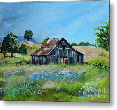 Metal Print featuring the painting Bluebell Barn - Rustic Bar - Bluebellsn by Jan Dappen