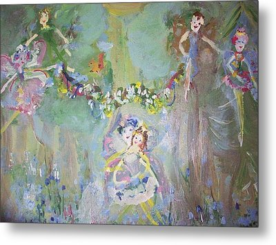 Metal Print featuring the painting Bluebell Fairies by Judith Desrosiers