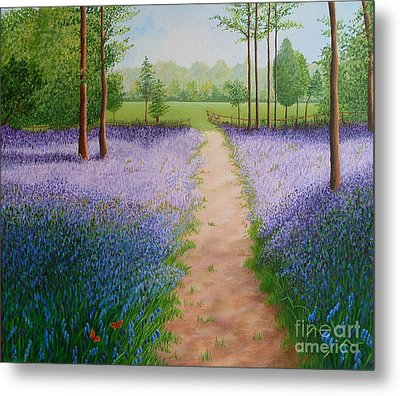 Bluebells With Butterflies Metal Print