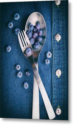 Blueberries On Denim II Metal Print by Tom Mc Nemar