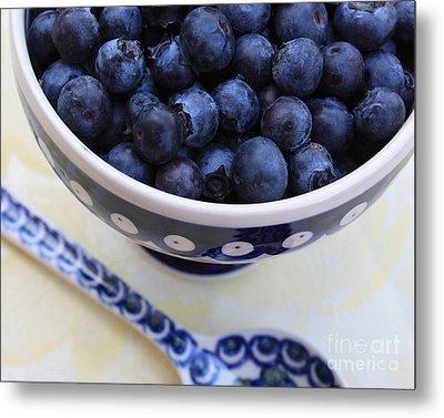 Blueberries With Spoon Metal Print by Carol Groenen