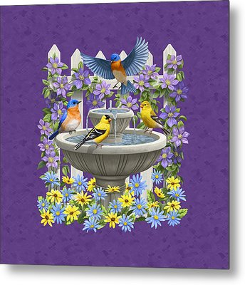 Bluebird Goldfinch Birdbath Garden Mauve Metal Print