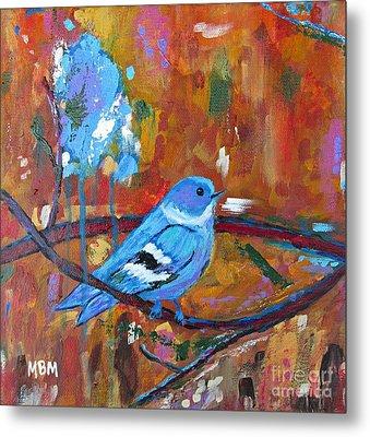 Bluebird In Autumn Metal Print