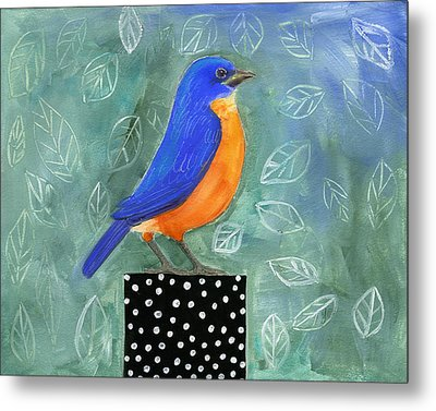 Bluebird Black Dot Box Metal Print by Blenda Tyvoll