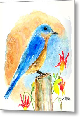 Bluebird On A Post Metal Print by Arline Wagner