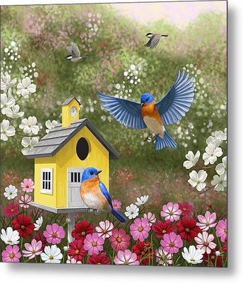 Bluebirds And Yellow Birdhouse Metal Print by Crista Forest