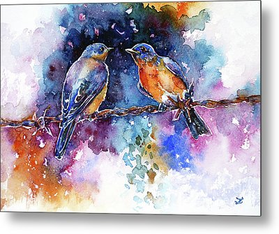 Metal Print featuring the painting Bluebirds by Zaira Dzhaubaeva