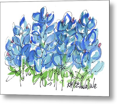 Bluebonnet Dance Whimsey,by Kathleen Mcelwaine Southern Charm Print Watercolor, Painting, Metal Print by Kathleen McElwaine