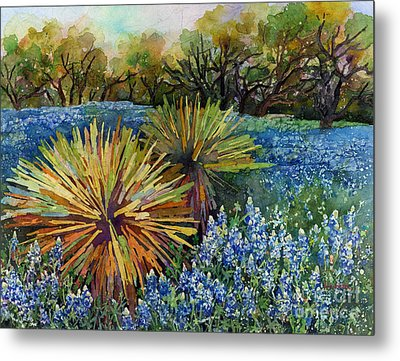 Metal Print featuring the painting Bluebonnets And Yucca by Hailey E Herrera