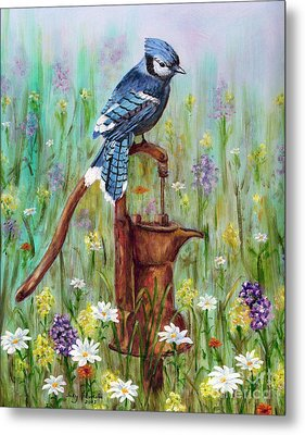 Bluejay Peaceful Perch Metal Print by Judy Filarecki