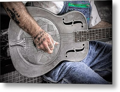 Blues And Tattoos Metal Print by Marion Johnson
