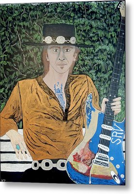 Blues In The Park With Stevie Ray Vaughan. Metal Print by Ken Zabel