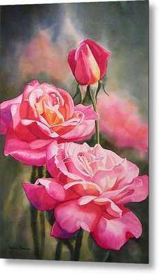 Blushing Roses With Bud Metal Print by Sharon Freeman