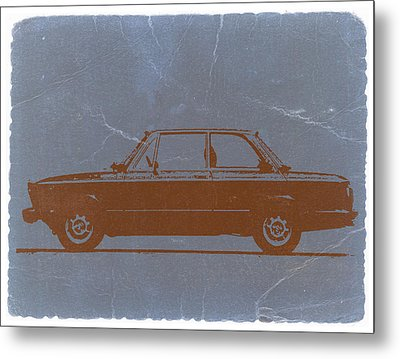 Bmw 2002 Orange Metal Print by Naxart Studio