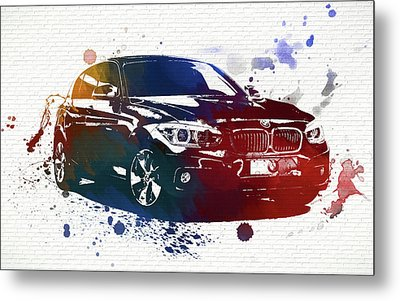 Bmw Watercolor Splash On Brick Metal Print by Dan Sproul