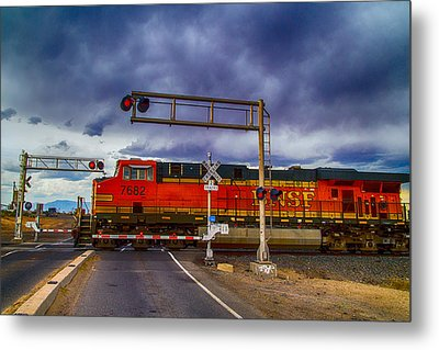 Bnsf 7682 Crossing Metal Print by Bartz Johnson
