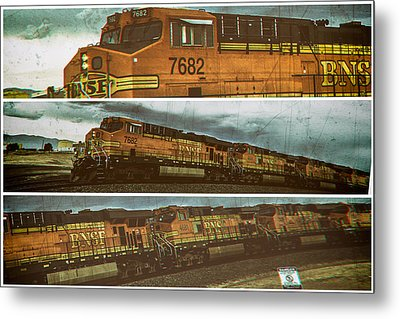 Bnsf 7682 Triptych  Metal Print by Bartz Johnson