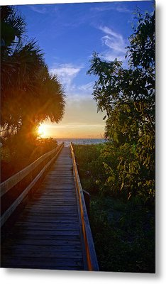 Sunset At The End Of The Boardwalk Metal Print by Robb Stan