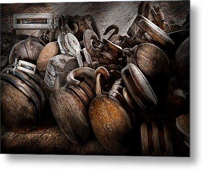 Boat - Block And Tackle  Metal Print by Mike Savad