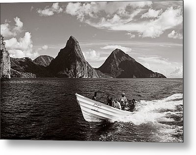 Boat And Pitons-st Lucia Metal Print