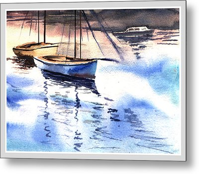 Boat And The River Metal Print by Anil Nene