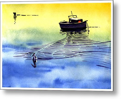 Boat And The Seagull Metal Print by Anil Nene