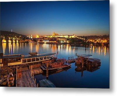 Boat Dock Near St. Vitus Cathedral, Prague, Czech Republic. Metal Print