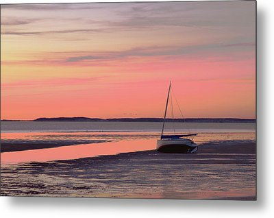 Boat In Cape Cod Bay At Sunrise Metal Print