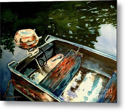 Metal Print featuring the painting Boat In Fog 2 by Marilyn Jacobson