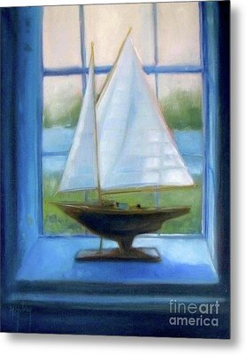 Boat In The Window Metal Print by Mary Hubley
