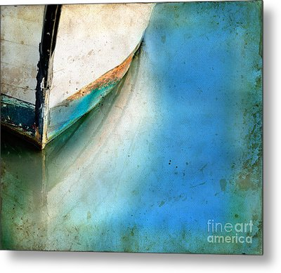 Metal Print featuring the photograph Bow Of An Old Boat Reflecting In Water by Jill Battaglia