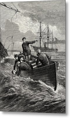 Boat Of The Deerhound Rescuing Captain Semmes Metal Print by American School