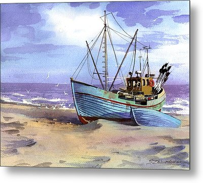 Boat On A Beach Metal Print by Sergey Zhiboedov
