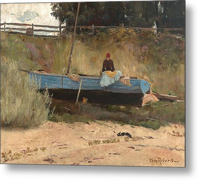 Boat On Beach, Queenscliff Metal Print by Tom Roberts