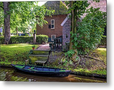 Metal Print featuring the photograph Boat On Canal At Cottage In Giethoorn by Jenny Rainbow