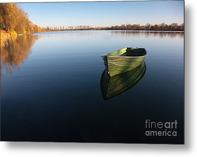 Boat On Lake Metal Print by Nailia Schwarz