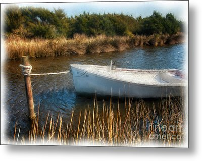 Boat On Pamlico Sound Ocracoke Island Outer Banks Ap Metal Print by Dan Carmichael