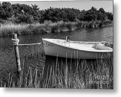 Boat On Pamlico Sound Ocracoke Island Outer Banks Bw Metal Print by Dan Carmichael
