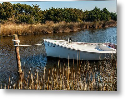 Boat On Pamlico Sound Ocracoke Island Outer Banks Metal Print by Dan Carmichael