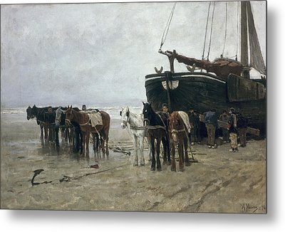 Boat On The Beach At Scheveningen Metal Print by Anton Mauve