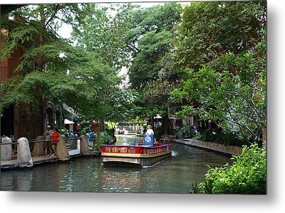 Boat On The San Antonio River Metal Print by Dennis Stein
