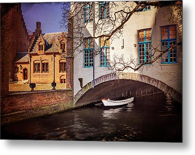 Metal Print featuring the photograph Boat Under A Little Bridge In Bruges  by Carol Japp