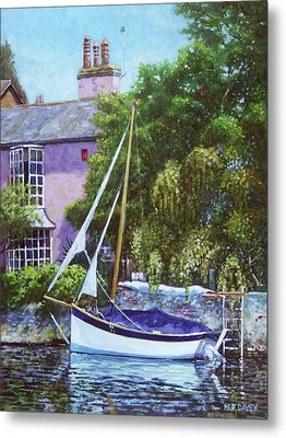 Metal Print featuring the painting Boat With Pink House On River by Martin Davey